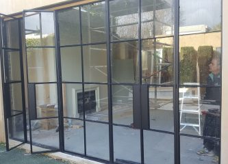 Finishing Steel Frame Double Doors